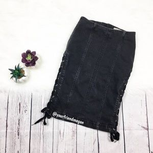 Free People Lace Up Denim Pencil Skirt